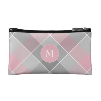 abstract gray and pink colorblock plaid cosmetic bag