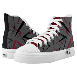 Abstract Gray and Red High Top Sneaker