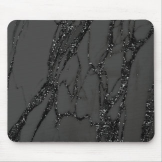 Abstract Gray Glitter Marble Graphite Black Lux Mouse Pad