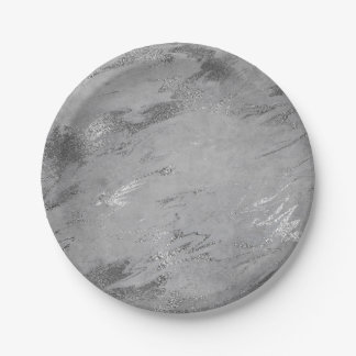 Abstract Gray Graphite Silver Marble Party Vip Paper Plate