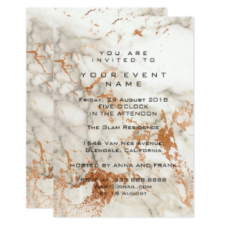 Abstract Gray Rose Copper Marble Stone Event Card