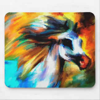 Abstract Gray White Horse Art Beautiful Equestrian Mouse Pad