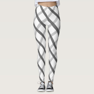 Abstract Gray White Square Pattern leggings