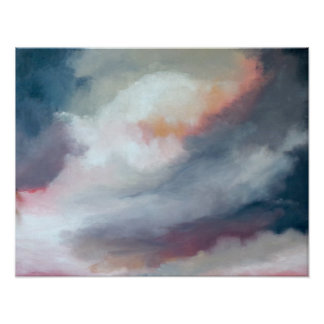 Abstract Gray With Pink Art Poster