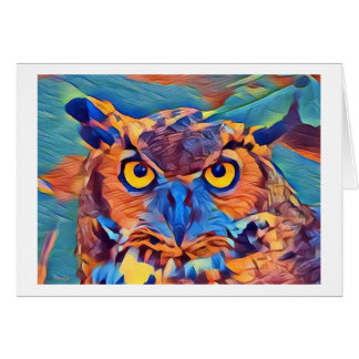 Abstract Great Horned Owl Card