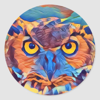 Abstract Great Horned Owl Classic Round Sticker
