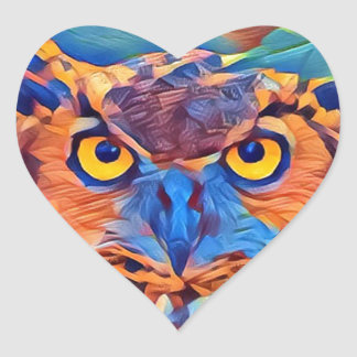 Abstract Great Horned Owl Heart Sticker