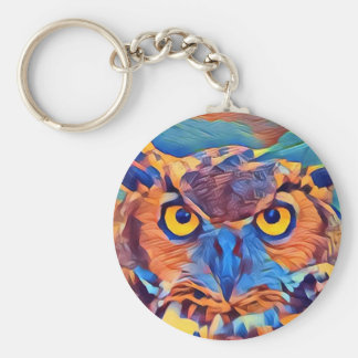 Abstract Great Horned Owl Keychain