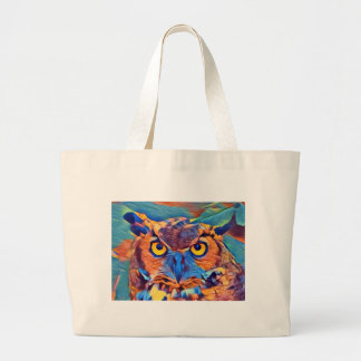 Abstract Great Horned Owl Large Tote Bag