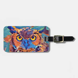 Abstract Great Horned Owl Luggage Tag