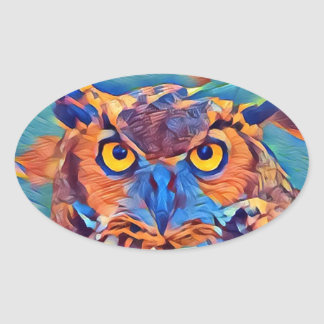Abstract Great Horned Owl Oval Sticker
