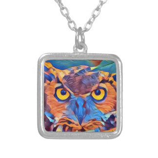Abstract Great Horned Owl Silver Plated Necklace