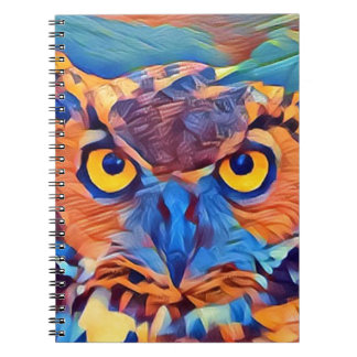 Abstract Great Horned Owl Spiral Notebook