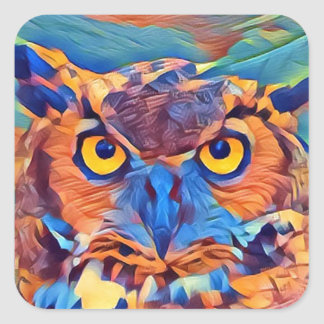 Abstract Great Horned Owl Square Sticker