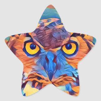Abstract Great Horned Owl Star Sticker