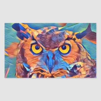 Abstract Great Horned Owl Sticker