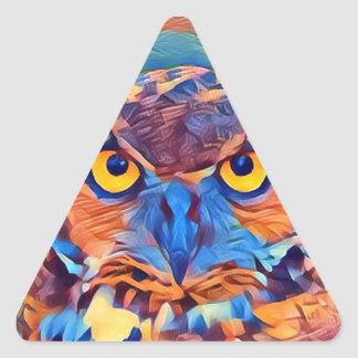 Abstract Great Horned Owl Triangle Sticker