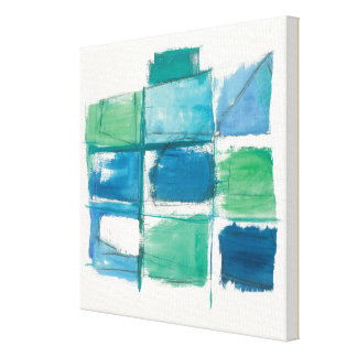 Abstract Green And Blue On White Canvas Print