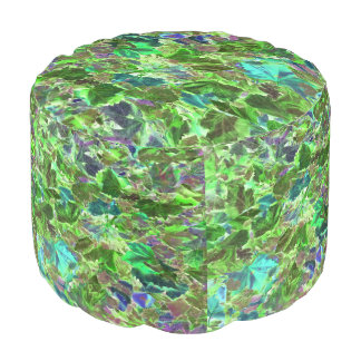 Abstract Green and Turquoise Leaf Pattern Pouf
