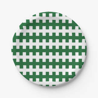 Abstract Green and White Paper Plate