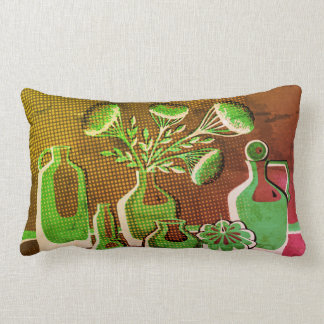 Abstract green and yellow home kitchen lumbar pillow