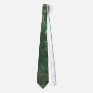 Abstract Green Brown Swirl Tie