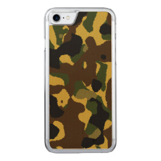 Abstract green brown yellow camouflage pattern carved iPhone 8/7 case