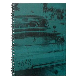 Abstract green car spiral notebook