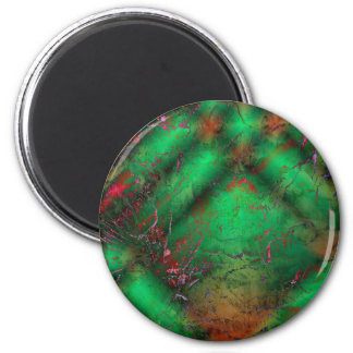 Abstract Green Crackles Fridge Magnets