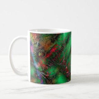 Abstract Green Crackles Mugs