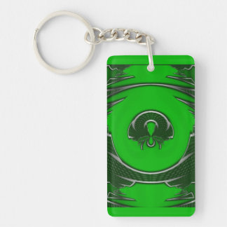 Abstract Green Emblem Double-Sided Rectangular Acrylic Keychain