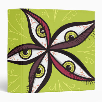 Abstract Green Eyes Flower 3 Ring Binders