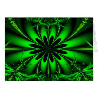 Abstract Green Fractal Jungle Card