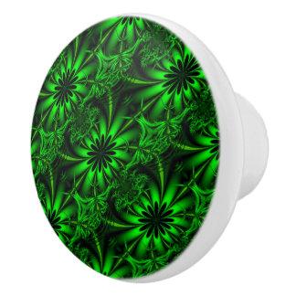 Abstract Green Fractal Jungle Ceramic Knob