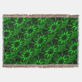 Abstract Green Fractal Jungle Throw Blanket
