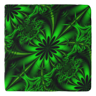 Abstract Green Fractal Jungle Trivet