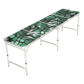 Abstract Green Gems Beer Pong Table
