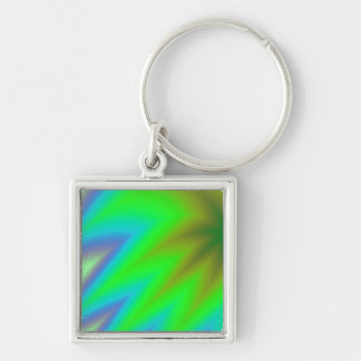 Abstract Green Grass Silver-Colored Square Keychain