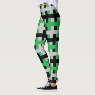 Abstract Green, Grey and Black Leggings