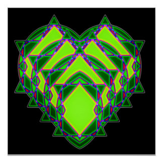 Abstract green heart poster