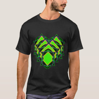 Abstract green heart t shirt