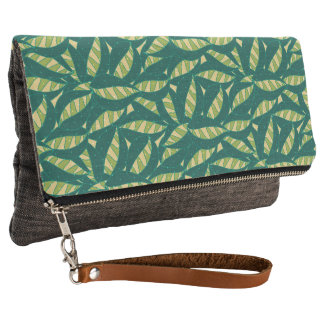 Abstract Green Leaf Pattern Clutch