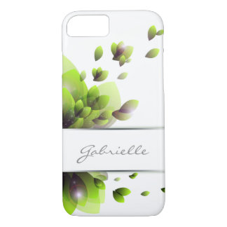 abstract green leaves with stripe for text iPhone 7 case
