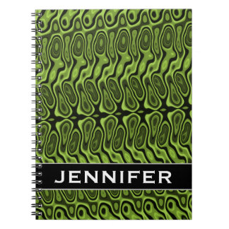 Abstract Green Liquid-Like Splotch Pattern + Name Spiral Notebook