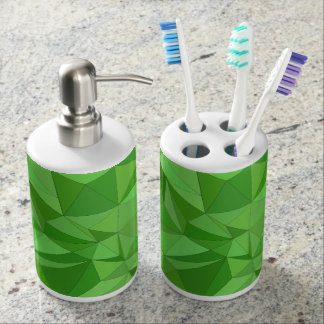 Abstract green mosaic pattern bathroom set