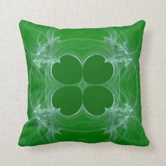 Abstract Green n White Shamrock Fractal Pillow