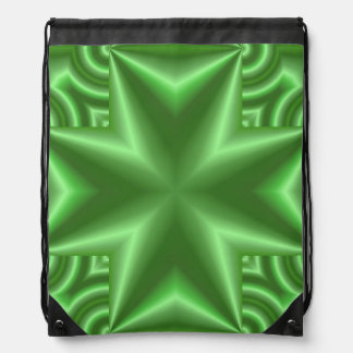 Abstract green pattern drawstring bag