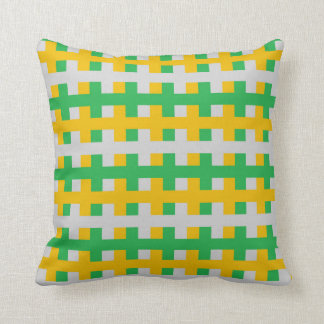 Abstract Green, Silver and Gold Throw Pillow