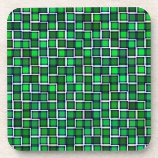 Abstract Green Squares Pattern Beverage Coaster