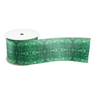 Abstract green tidepool kaliedoscope satin ribbon